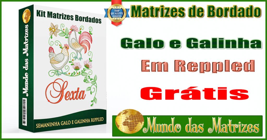 Kit Matrizes bordados Semaninha Galo e Galinha Rippled