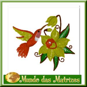Matriz de bordado grátis Beija Flor