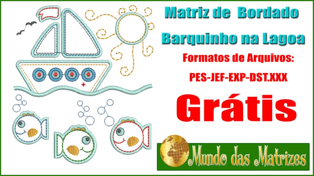Matriz de Bordado Barquinho na Lagoa grátis