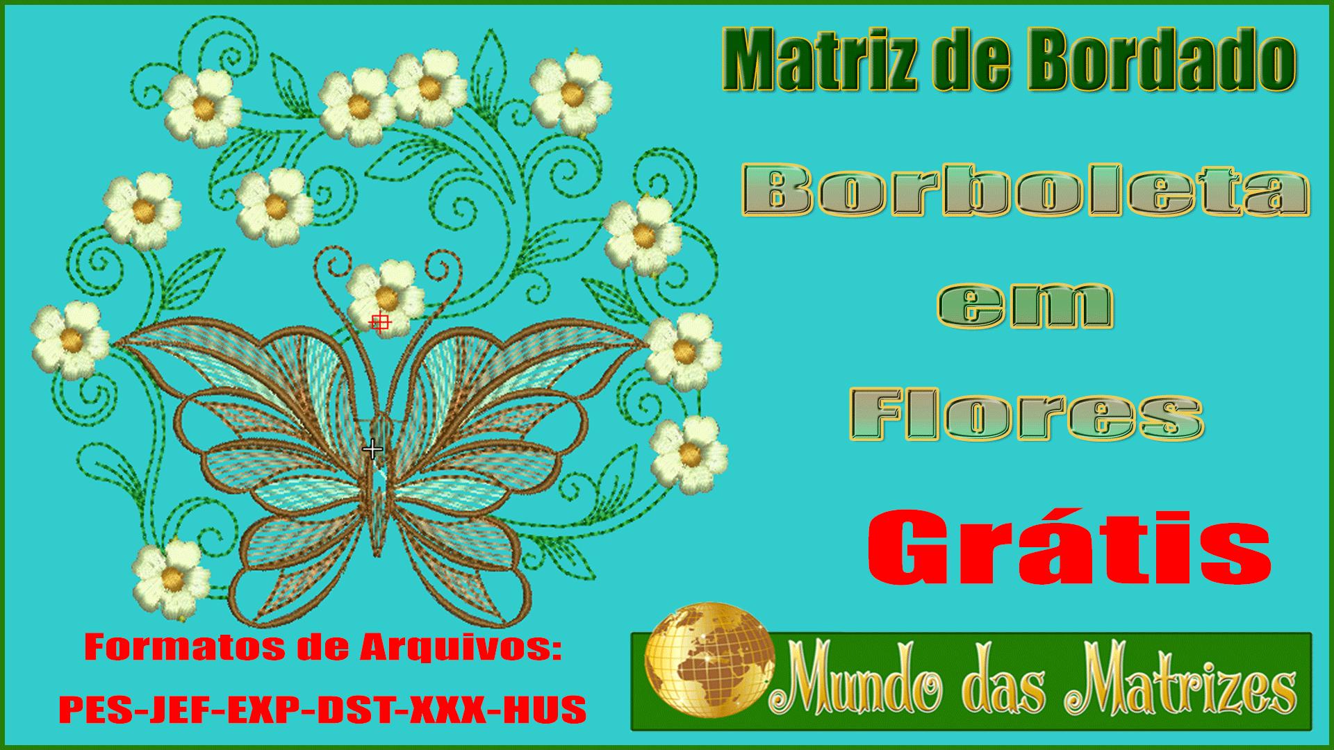 Matriz de bordado Borboleta em flor Grátis