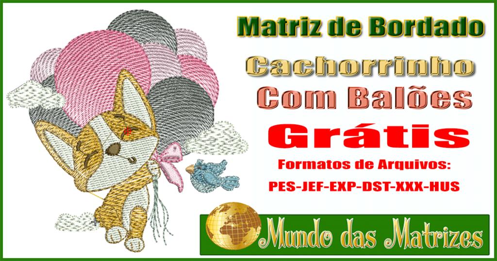 Matriz de bordado grátis Cachorrinho com balões