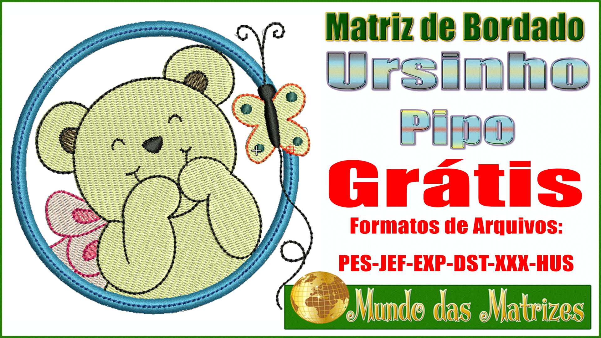 Matriz de bordados Ursinho Pipo Grátis