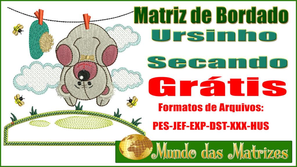 Matriz de bordado Grátis Ursinho secando no varal