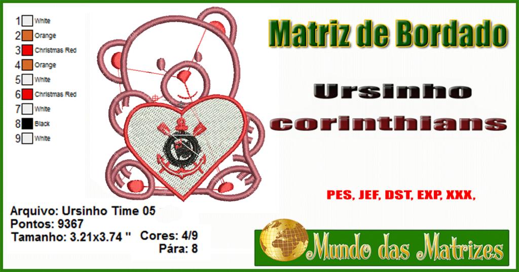 Matriz de bordado grátis Ursinho do Corinthians