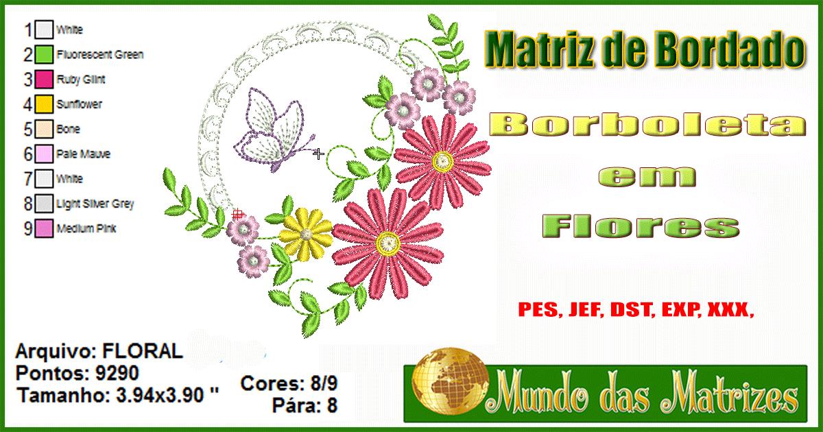 Matriz de bordado grátis Borboleta em flores