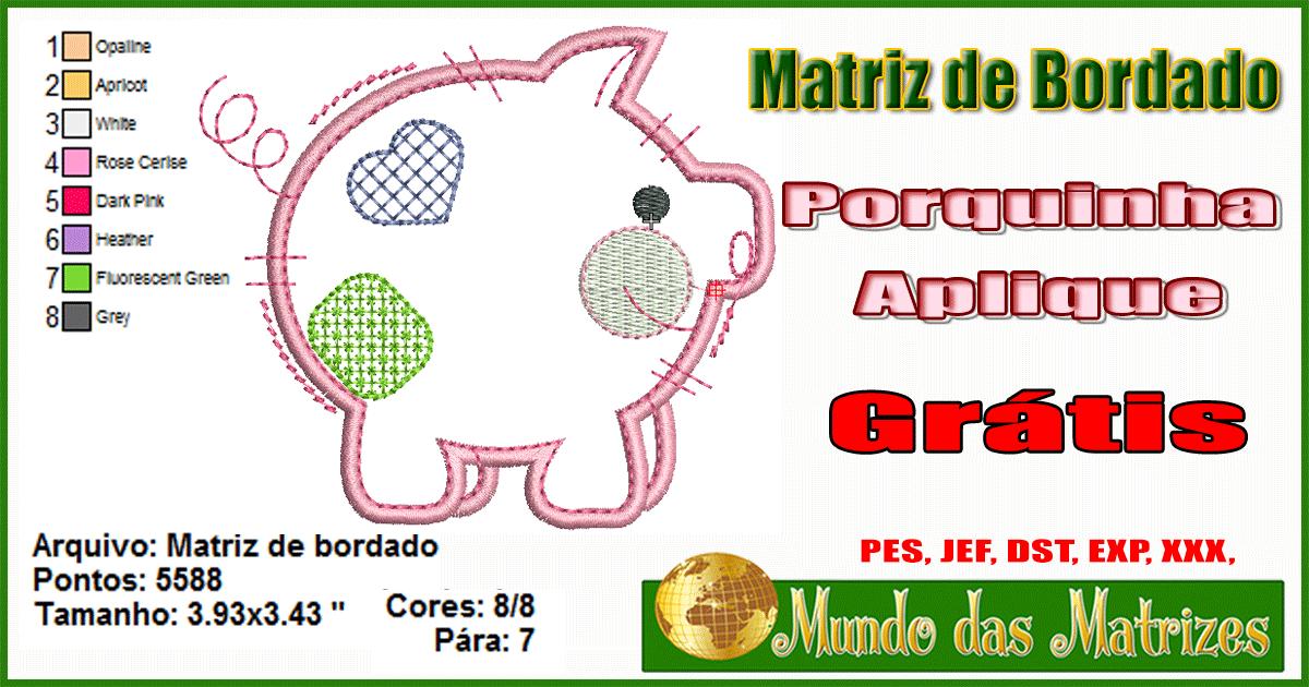 Matriz de bordado grátis porquinho aplique